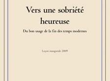 """Visuel du livre """"Vers une sobriété heureuse"""" de P. Viveret"""